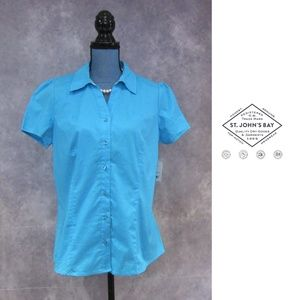 NEW St. John's Bay Blue Atoll Short Sleeve Blouse